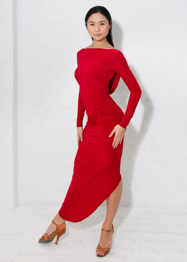 Long-sleeved red draped back ballroom dance dress for salsa, latin, rhythm, samba, tango and rumba.