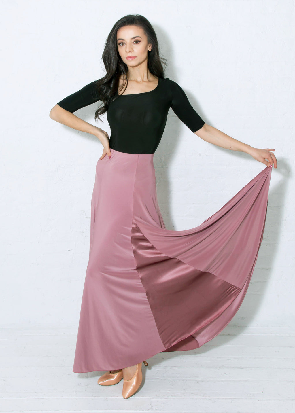 Ballroom dance skirt in dusty rose with wide maxi length, 6 inserts of flowing silk charmeuse and spandex.