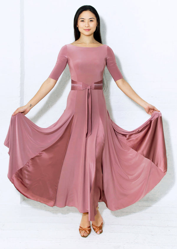 Miari ballroom gown in dusty rose can be worn for any Smooth or Standard dance, Waltz, Fox Trot or even Latin Paso Doble