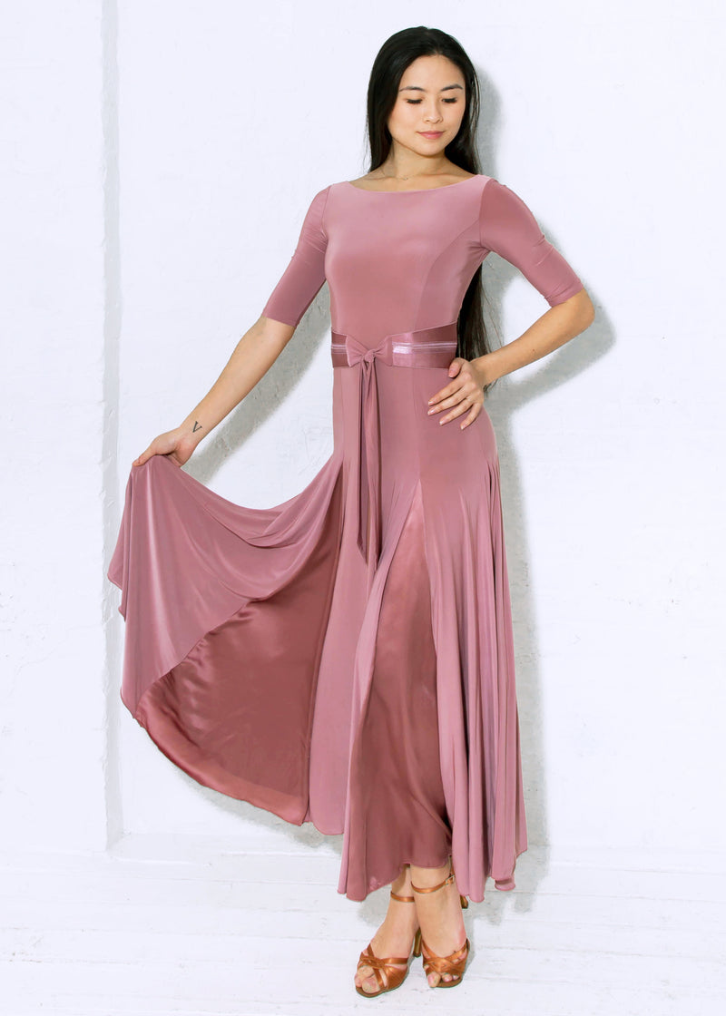 Ballroom gown in Dusty Rose can be worn for any Smooth or Standard dance, Waltz, Fox Trot or even Latin Paso Doble