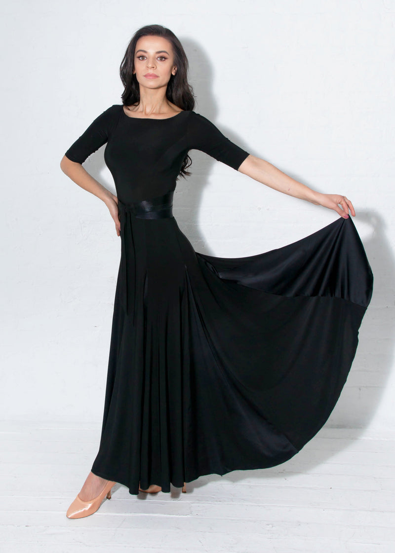 Ballroom gown in black can be worn for any Smooth or Standard dance, Waltz, Fox Trot or even Latin Paso Doble