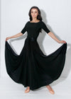 Ballroom gown in black can be worn for any Smooth or Standard dance, Waltz, Fox Trot or even Paso Doble