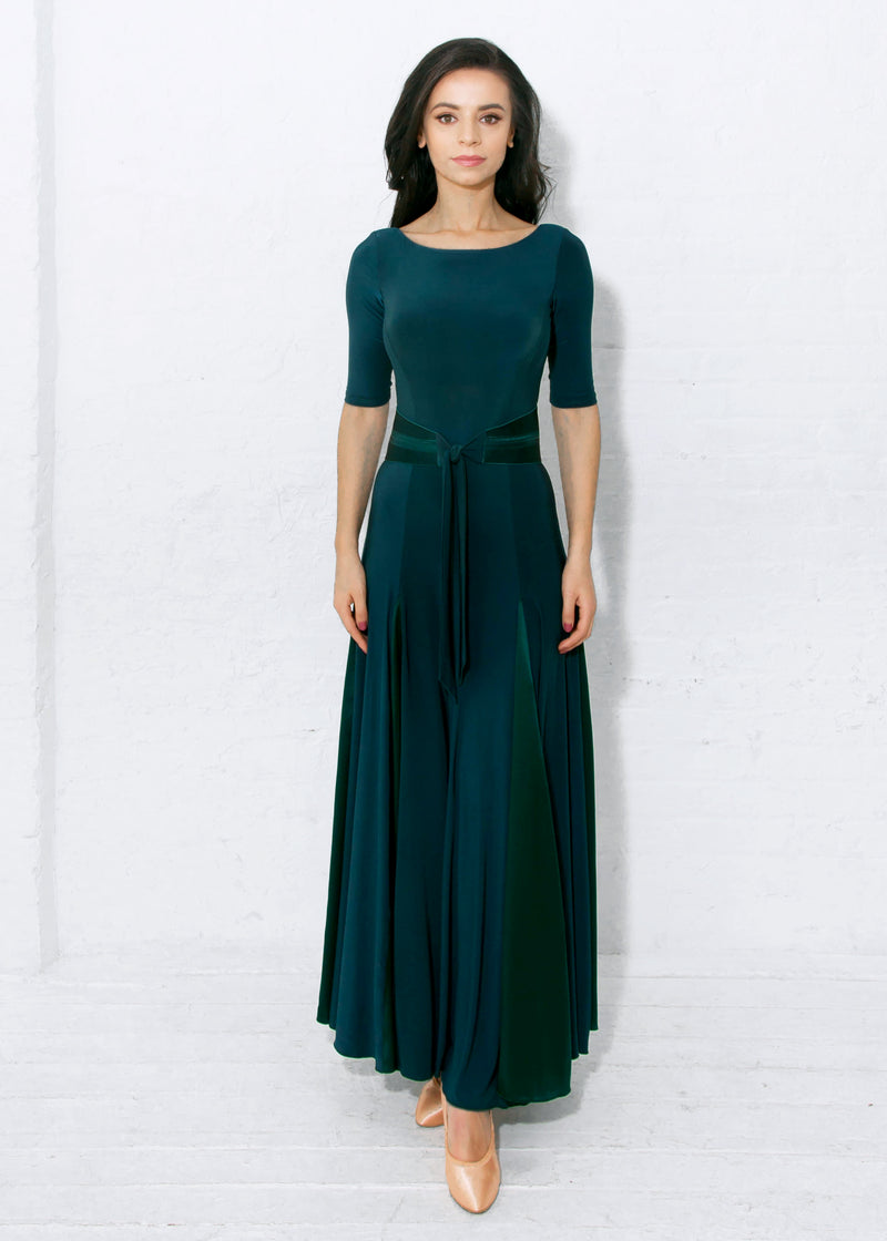 Ballroom dance dress in forrest green can be worn for any Smooth or Standard dance, Waltz, Fox Trot or even Latin Paso Doble