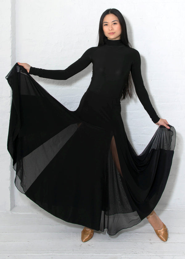 Ballroom dance skirt with wide maxi length, 6 inserts of flowing black mesh and spandex.