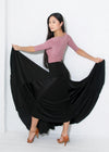 Ballroom dance skirt with wide maxi length, 6 inserts of flowing silk charmeuse and spandex.