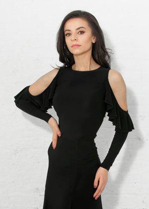 Black Ballroom Dance Top with Open Shoulder and Soft Cascading Ruffle.