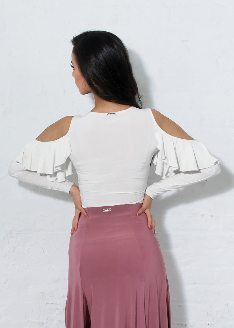 Ivory Ballroom Dance Top with Open Shoulder and Soft Cascading Ruffle.