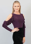 Angelique Ruffle Top- Plum