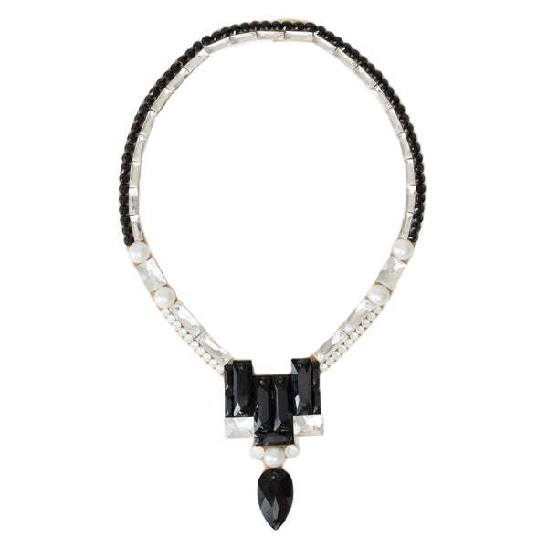 Art Deco Necklace - Jet, Crystal & Pearl