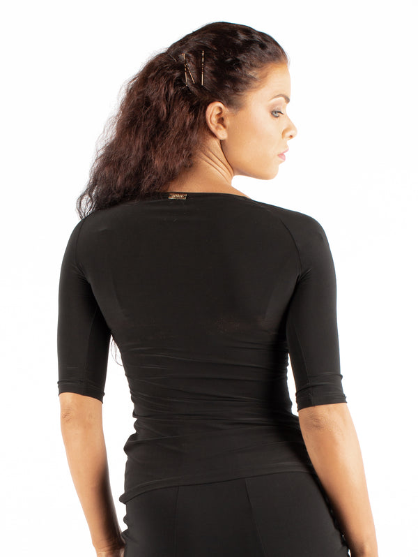 Miari women's black ballroom dance top with asymmetrical neckline and elbow length half-sleeves.