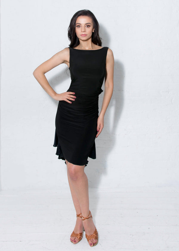 Juliette Ruffle Dress - Black Satin