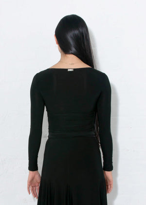 Long sleeved black Miari ballroom dance top with asymmetrical keyhole in a super-soft luxe wicking spandex fabric.