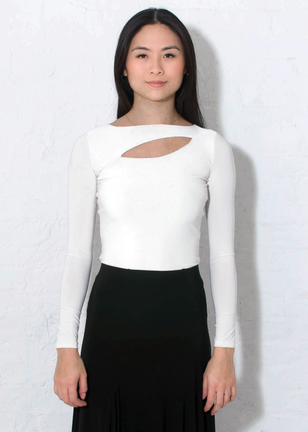 Long sleeved ivory Miari latin ballroom dance top with asymmetrical keyhole in a super-soft luxe wicking spandex fabric.