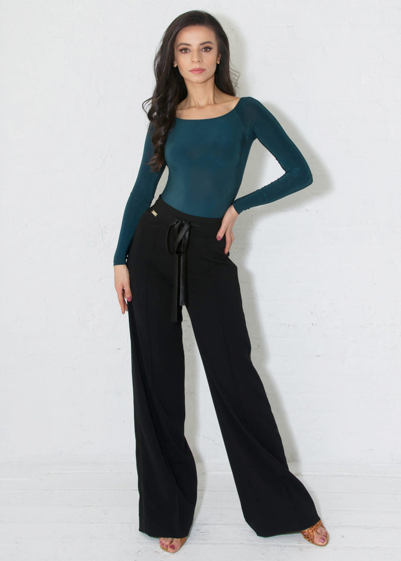 Miari black drawstring tuxedo ballroom pants has a satin tie and a satin tuxedo stripe down the side, soft and stretchy crepe that does not wrinkle and can be machine washed