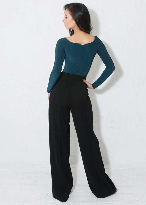 Miari black drawstring tuxedo ballroom pants has a satin tie and a satin tuxedo stripe down the side, soft and stretchy crepe that does not wrinkle and can be machine washed.