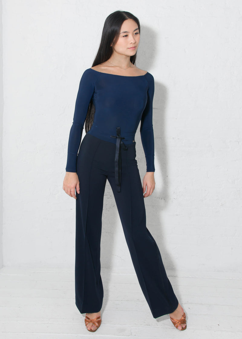 Miari ballroom dance pants with a satin tie and a satin tuxedo stripe down the side in soft and stretchy crepe that does not wrinkle and can be machine washed.
