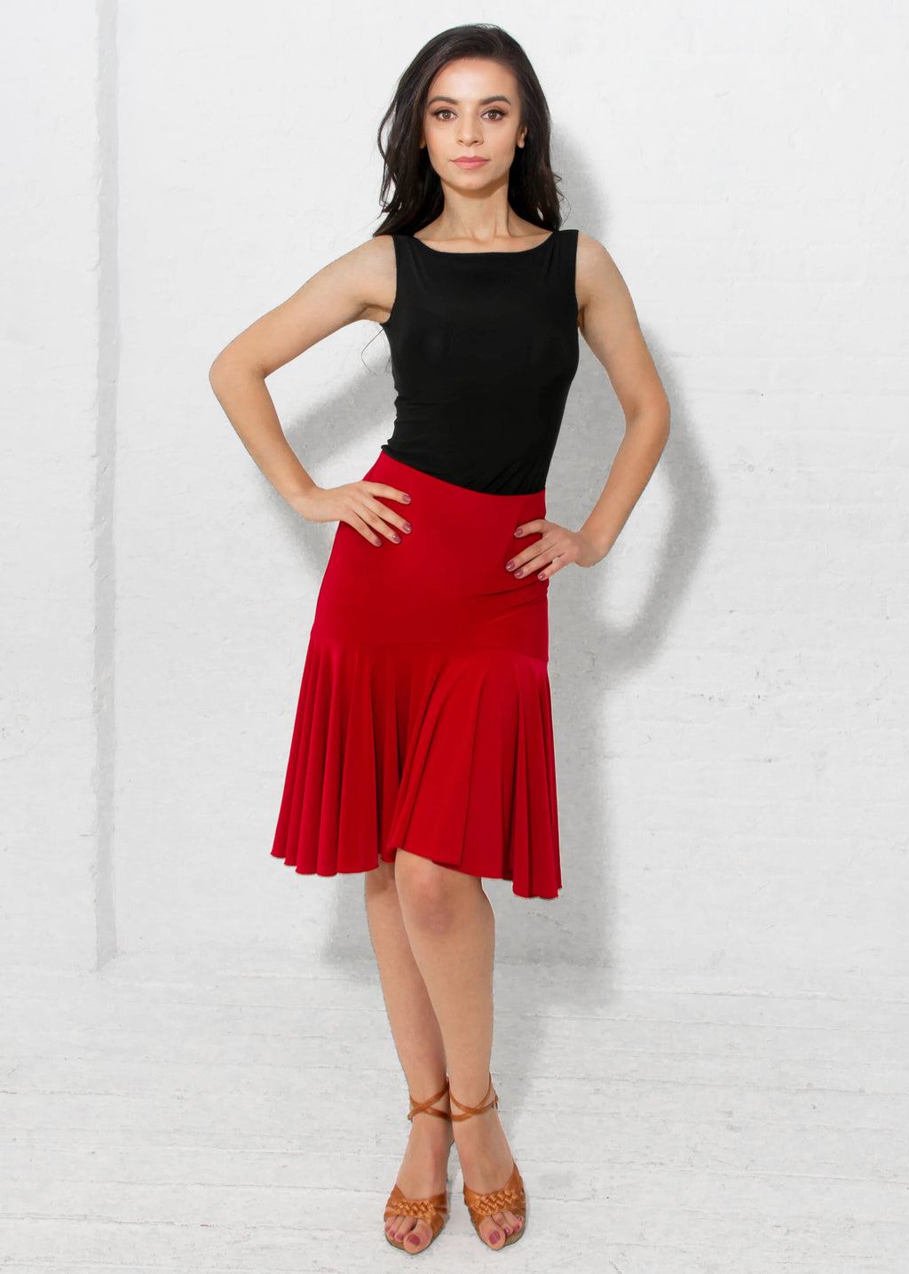 Miari ruffled red latin ballroom dance skirt with wide elastic waistband, flared and provides plenty of movement.