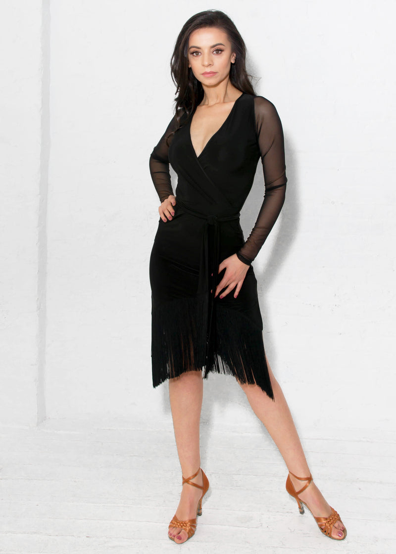 Miari wrap dress in black spandex has a separate waist tie belt and mesh long sleeves.
