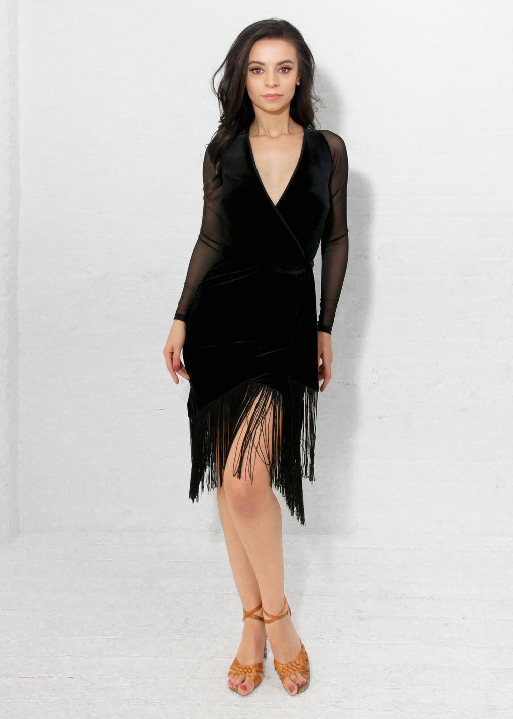 Miari wrap dress in black velvet has a separate waist tie belt and mesh long sleeves.