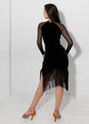 Carmen Fringe Dress - Black Velvet