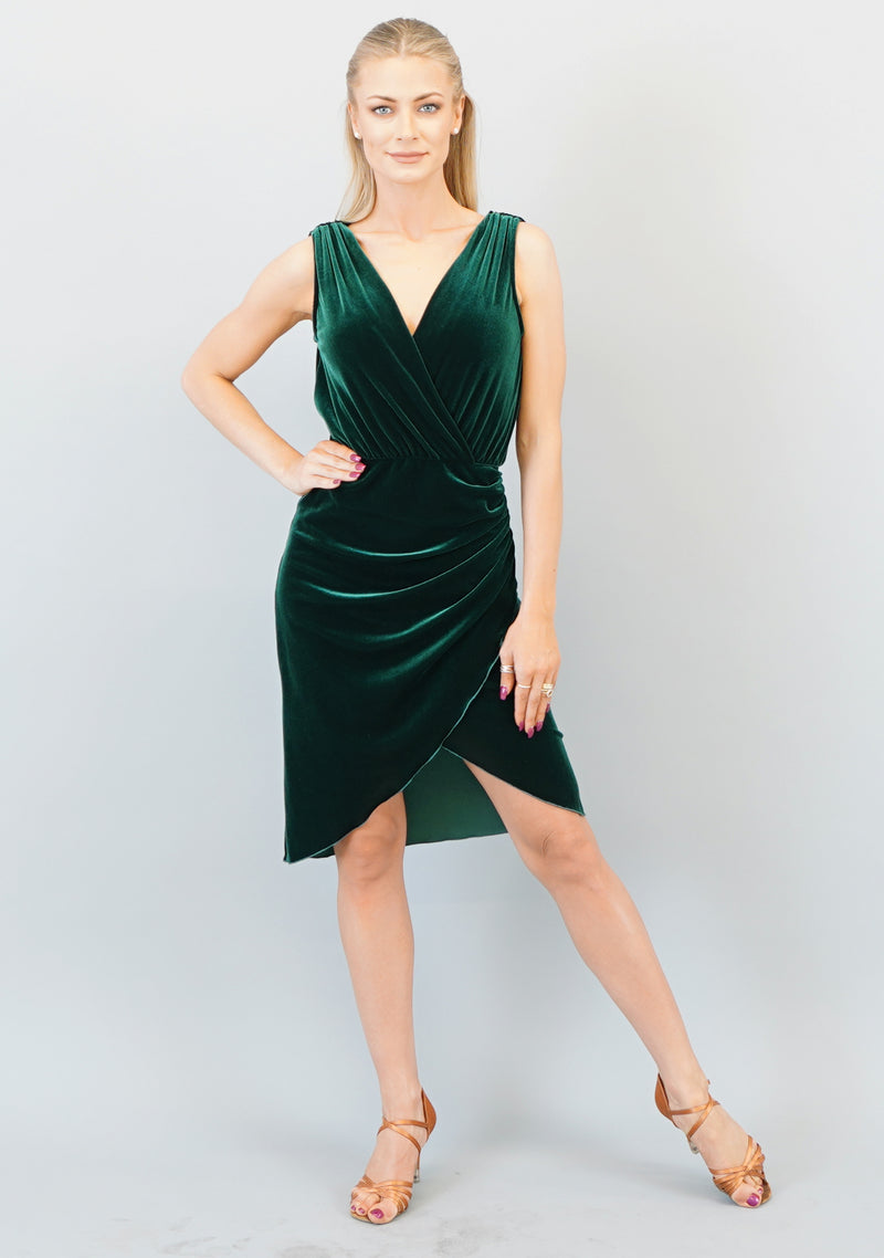 Gabriella Dress- Green Velvet