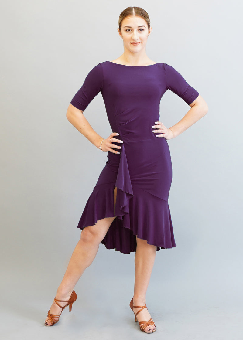 Kaia Ruffle Dress- Plum