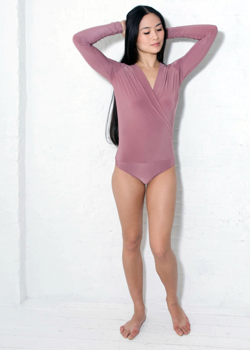 Miari women's London dusty rose bodysuit has a draped V-neck with a seam at the waist and full length sleeves