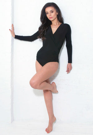 Miari Women's London black bodysuit has a draped V-neck with a seam at the waist and full length sleeves.