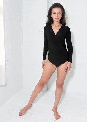 Miari Women's London black bodysuit has a draped V-neck with a seam at the waist and full length sleeves