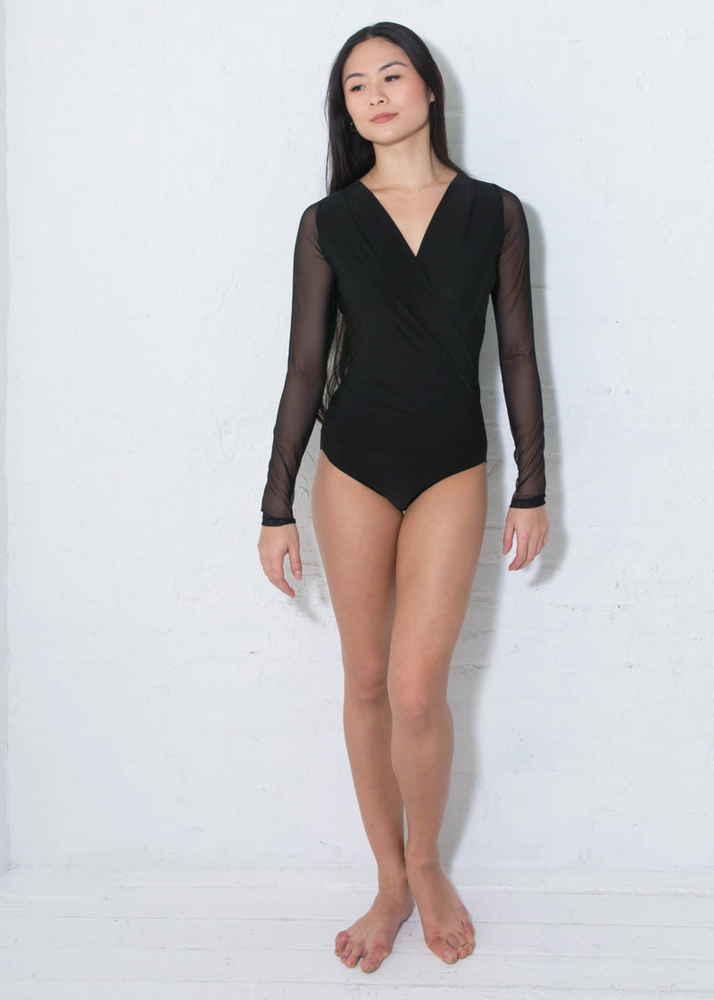 Miari Women's London black and mesh bodysuit has a draped V-neck with a seam at the waist and full length sleeves