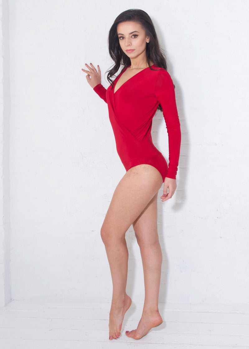 Miari women's London red bodysuit has a draped V-neck with a seam at the waist and full length sleeves
