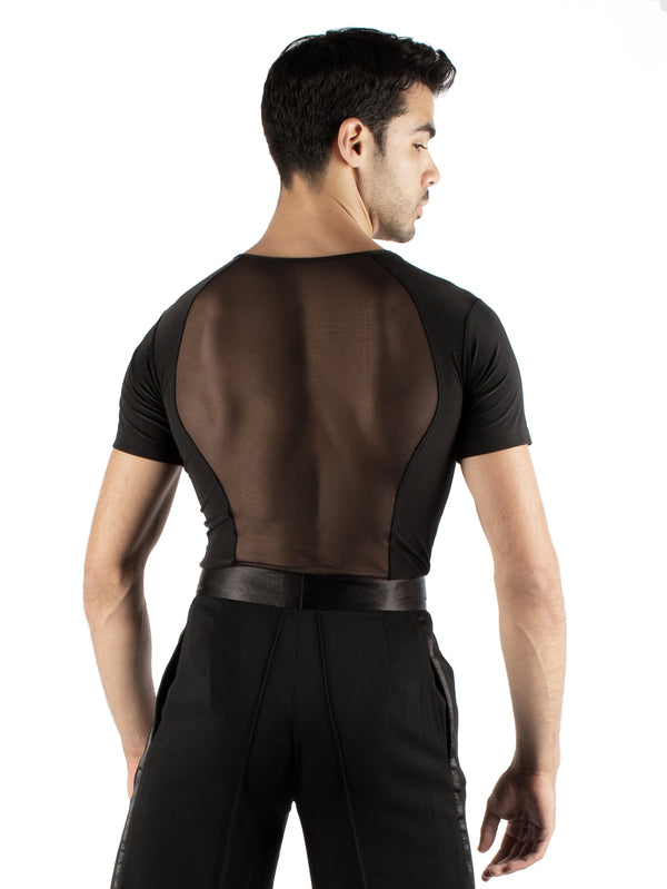 Short sleeved simplicity with an all mesh back. Super soft spandex, trunks attached with snap closure.