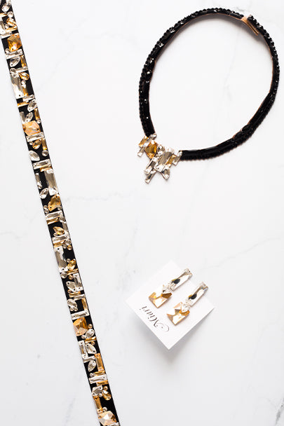 Mosaic Necklace Set - Crystal & Golden Shadow