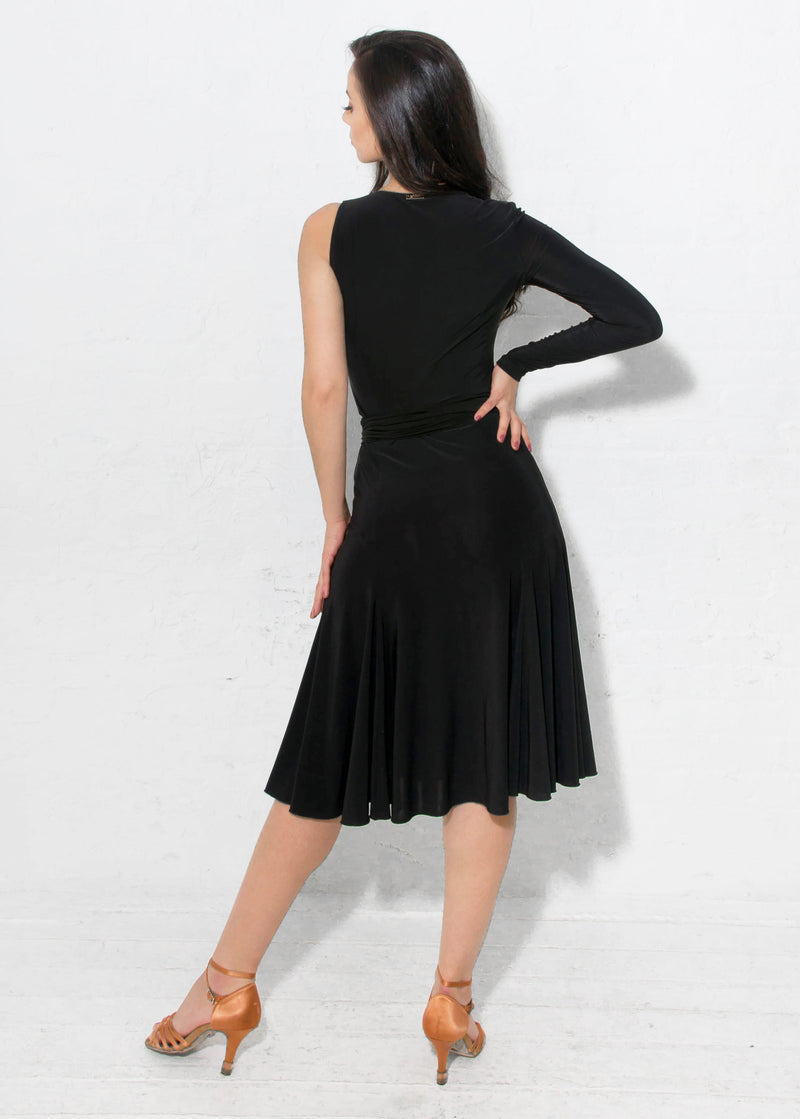 Miari women's black one sleeved asymmetrical neckline. Fit and flare skirt with slight slit on the ballroom dancer's left leg.