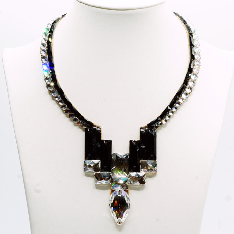 Nouveau Necklace- Jet and Crystal
