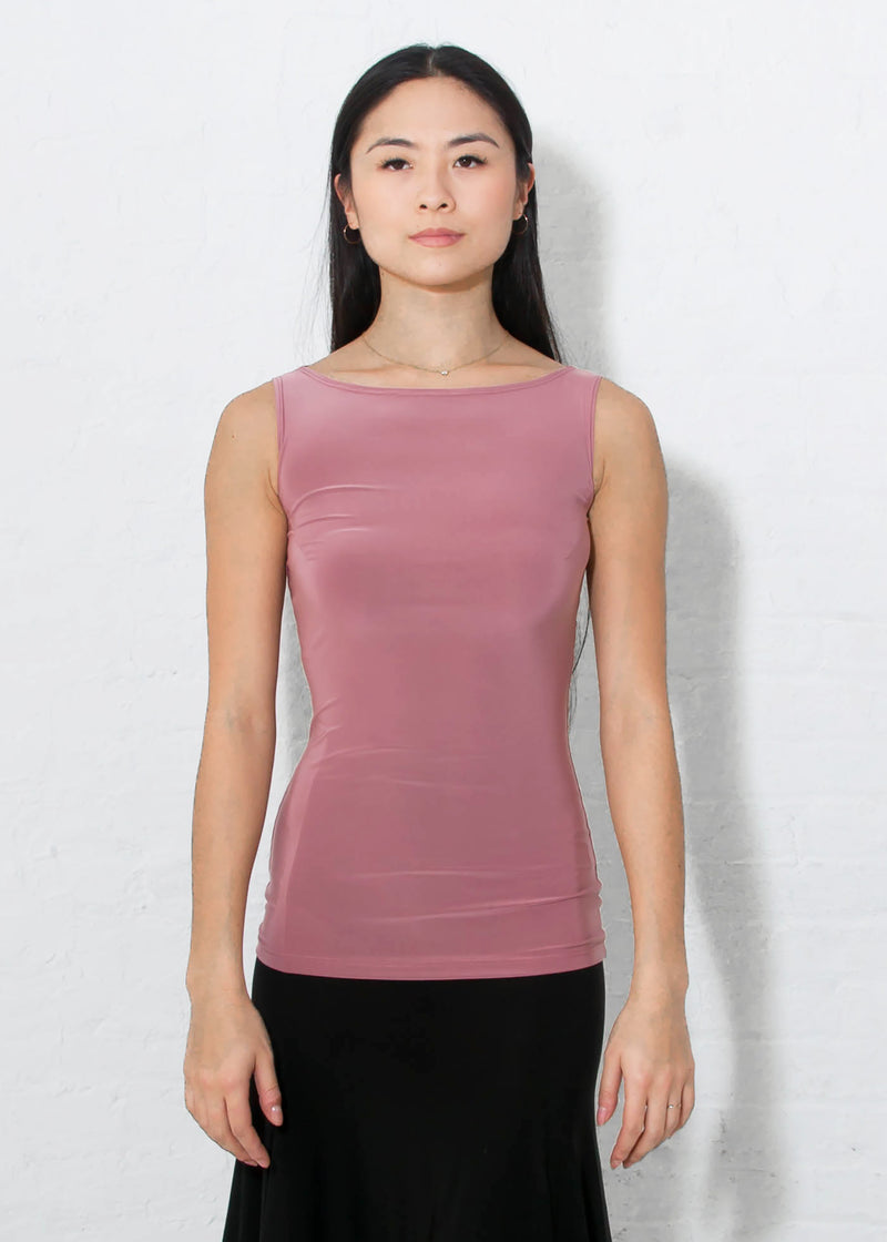 Miari women's dusty rose Paige ballroom dance top with wide boatneck neckline worn hip length