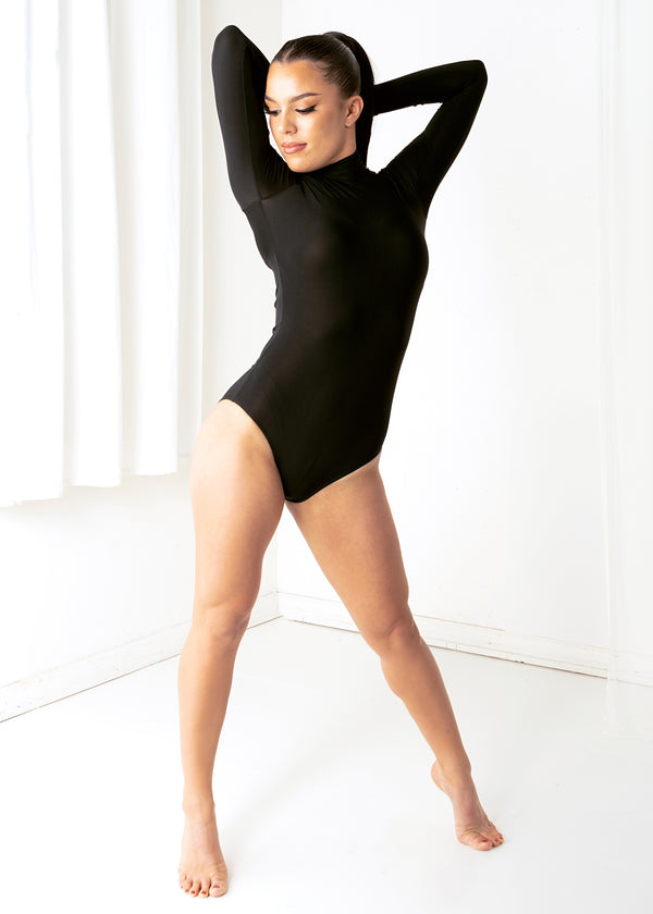 Miari women's black bodysuit with 3 button closure at the neck and keyhole back. Super soft quick drying luxe spandex .