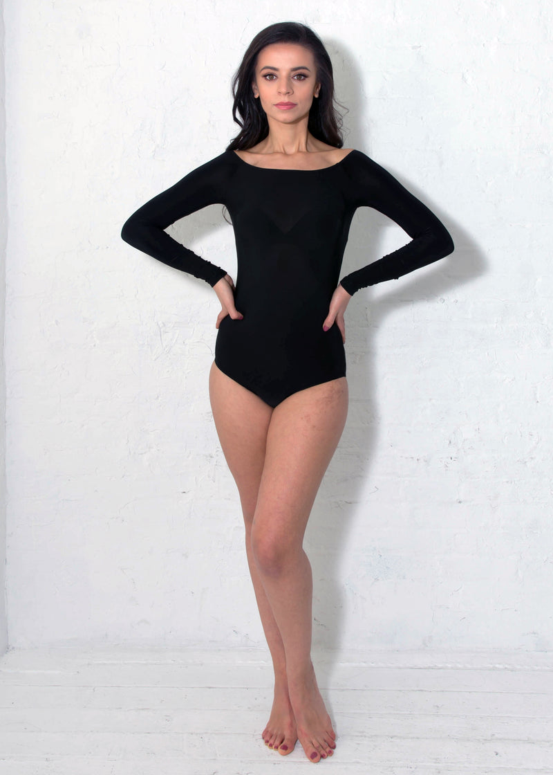 Miari women's black Tessa bodysuit with classic silhouette and boatneck neckline, Pull apart snaps allow for a more comfortable wear