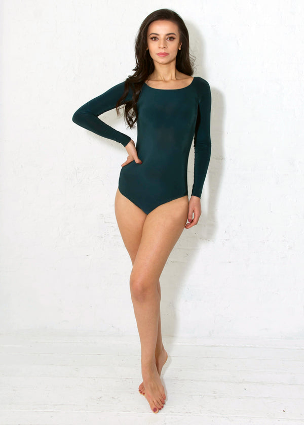Miari women's forrest green Tessa bodysuit with classic silhouette and boatneck neckline, Pull apart snaps allow for a more comfortable wear