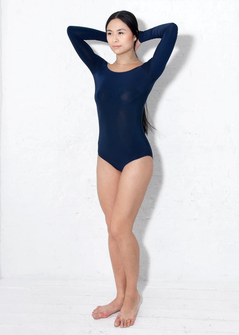 Miari women's navy Tessa bodysuit with classic silhouette and boatneck neckline, Pull apart snaps allow for a more comfortable wear