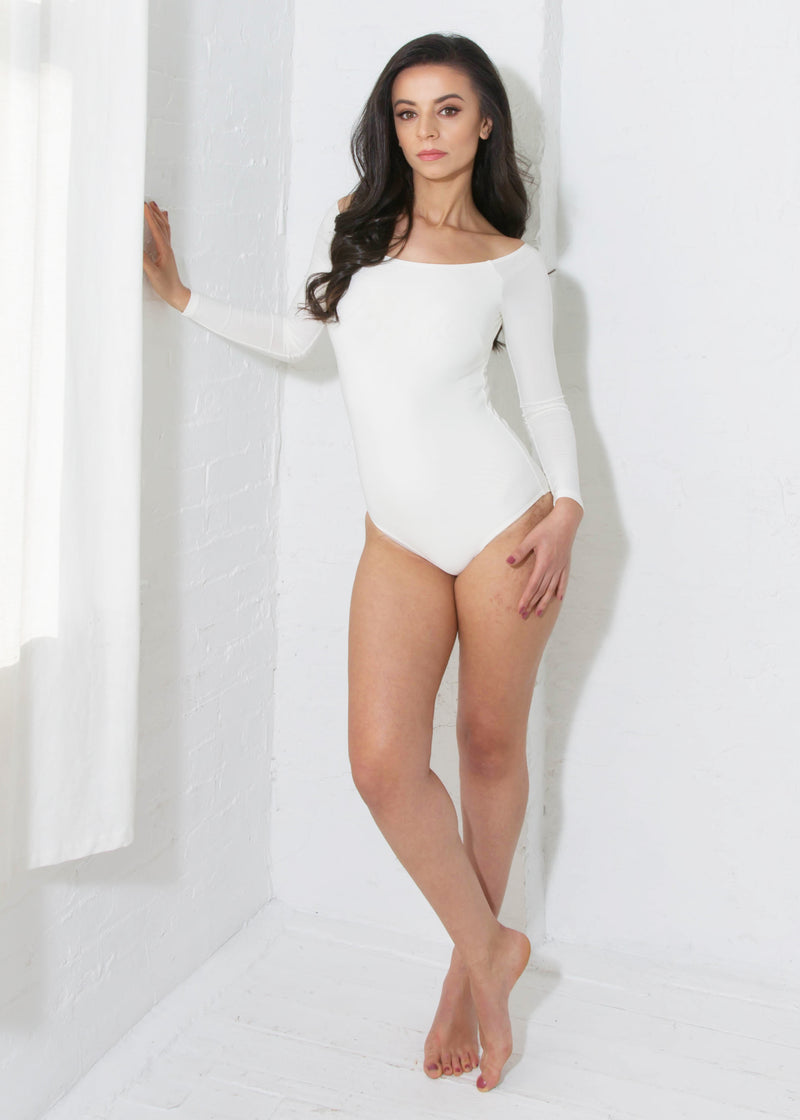 Miari women's ivory Tessa bodysuit with classic silhouette and boatneck neckline, Pull apart snaps allow for a more comfortable wear