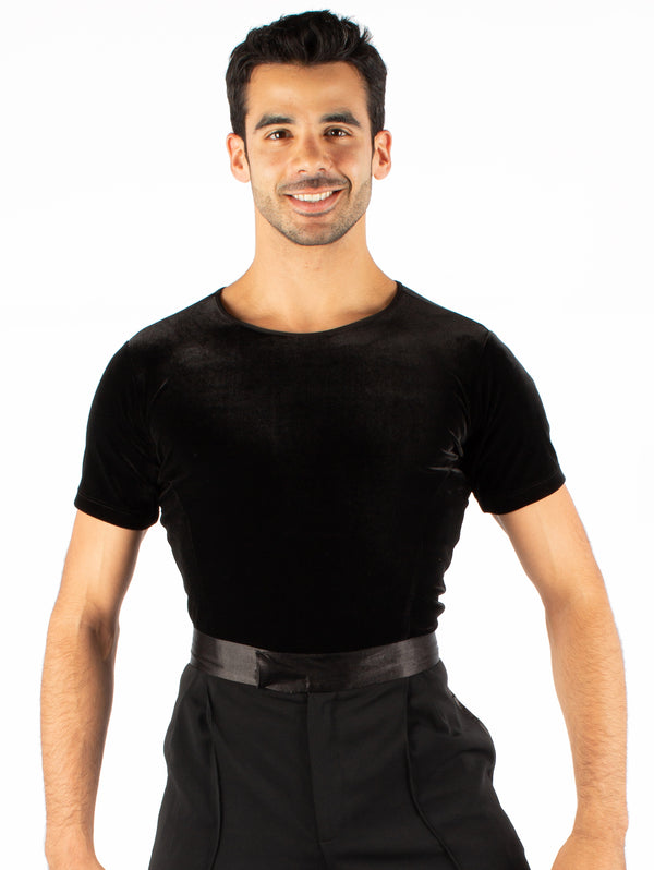Short sleeved ballroom simplicity, mesh and velvet. Super soft, quick dry spandex, trunks attached with snap closure.