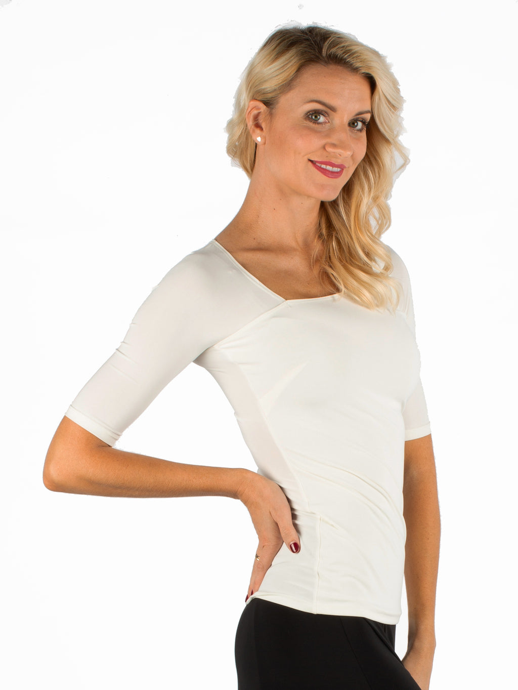Miari women's ivory ballroom dance top with asymmetrical neckline and elbow length half-sleeves.