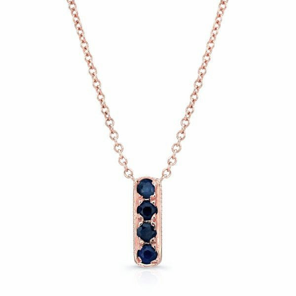 Mini Bar Necklace In Rose Gold And Sapphires