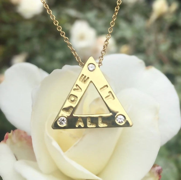 "The ""Love It All"" necklace is made by hand in solid 14k gold, brilliant diamonds and 14k Italian gold chains. Available in solid rose, yellow and white gold. Also available in 18k and in sterling silver. Made by hand in USA. www.paulinajewelry.com"