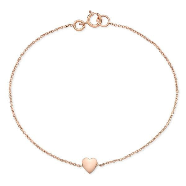 The Heart bracelets are made by hand in solid 14k gold and 14k Italian gold chains. Available in solid, rose, yellow an white gold. Also available with diamonds. Made by hand in USA. Free shipping on all US orders