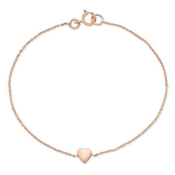 Dainty heart bracelets made by hand in solid 18k gold and 18k Italian gold chains. Available in rose, yellow and white gold and also with diamonds. Made by hand in USA.