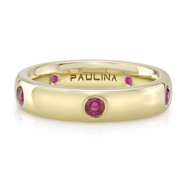 "The Ruby ring is made by hand in solid 18K gold & Burmese rubies, the ""Pigeon Blood"" color. Available in solid rose, yellow and white gold. Made by hand in USA. Free shipping within the US."