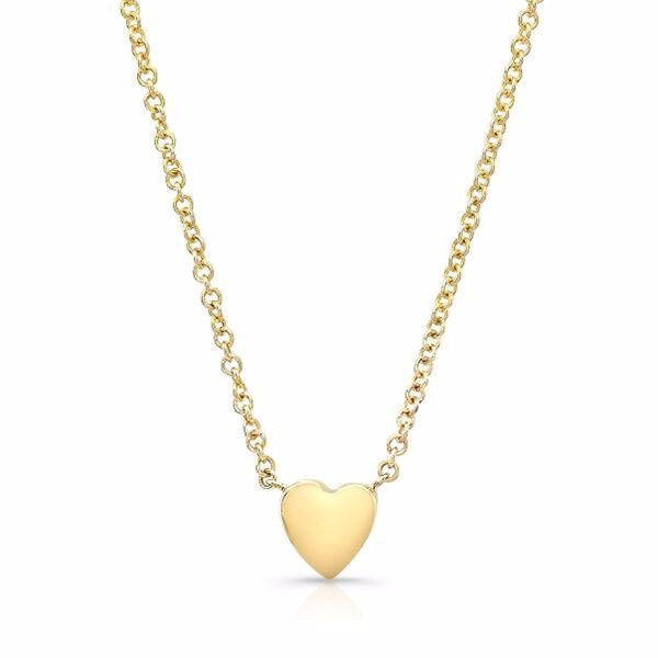 Dainty heart necklaces made by hand in solid 14k gold & Italian gold chains. Available in rose, yellow and white gold and also in 18k and with diamonds. Made by hand in USA. Free shipping in all domestic orders