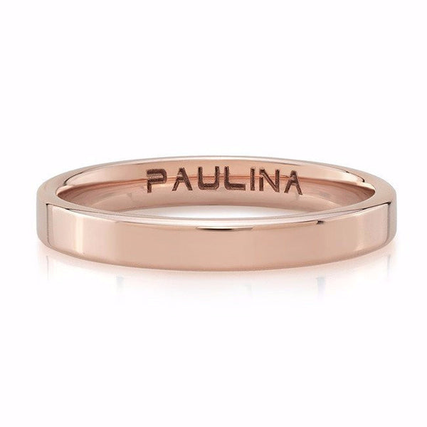 Plain band made by hand in solid 18K. Available in solid rose, yellow and white gold. Made by hand and to order in USA. Free shipping in all domestic orders. www.paulinajewelry.com